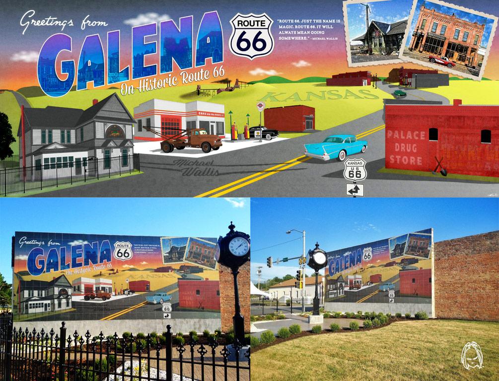 Chris auckerman designer and illustrator for Route 66 mural